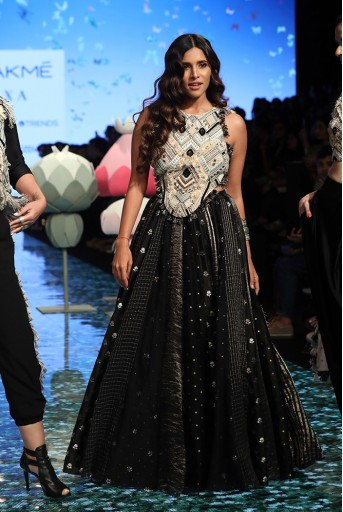 PS-FW692 Misbah Stone Georgette Choli with Black Brocade Chanderi Lehenga