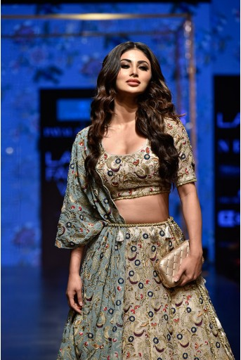 PS-FW583 Mouni Stone Organza Choli with Lehenga and Periwinkle Blue Georgette One Side Jacket