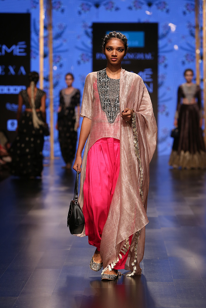 PS-FW575 Muniza Mouse Grey Chanderi Stripe High-Low Kurta with Dupatta and Hot Pink Silk Camisole with Salwar