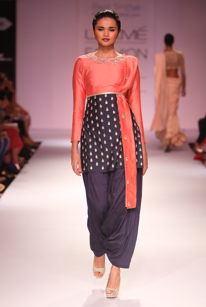 PS-FW272 Myrah Pale Coral and Navy Silkmul Kurta with Navy Patiala and Pale Coral Dupatta