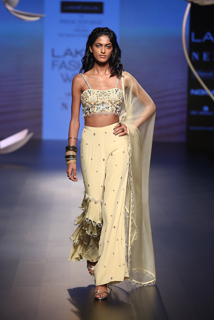 PS-FW536 Nadide Pale Yellow Crepe Bustier with Tiered Pant and Organza Dupatta