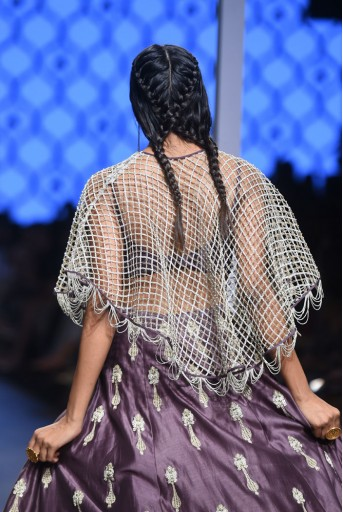 PS-FW491 Naem Eggplant Silkmul Bustier with Lehenga and Cape