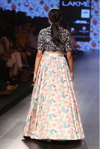 PS-FW376 Nargis Navy Dupion Silk Choli with Printed Dupion Silk Skirt