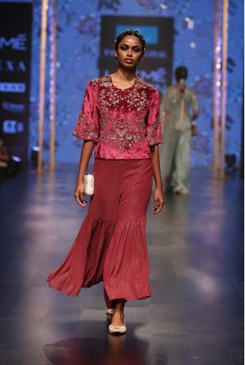 PS-FW554 Nargiza Cranberry Velvet Short Kurta with Mukaish Georgette Cropped Sharara