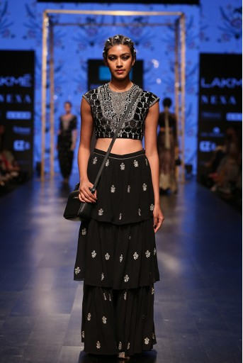 PS-FW574 Nasiba Black Velvet Choli with Georgette Layered Sharara
