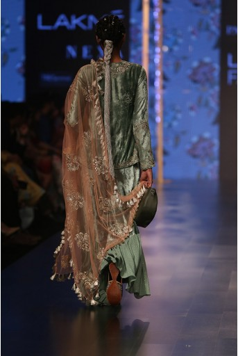 PS-FW555 Nasrin Sage Green Velvet Kurta with Velvet and Mukaish Georgette Frill Palazzo and Coral Net Dupatta