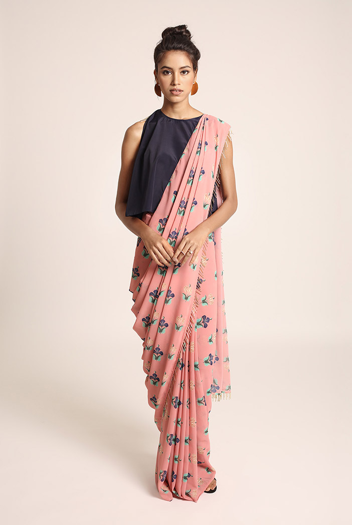 PS-ST1207S Navy Art Crepe Top with Coral Printed Art Georgette Saree