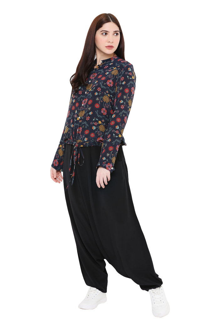 PS-TP0029-3  Navy Colour Printed Crepe Top