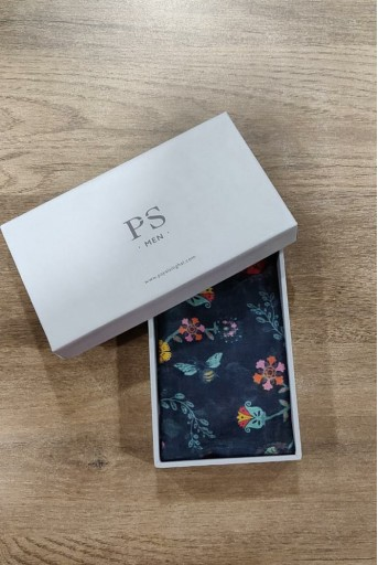 PS-PS126  Navy colour printed silkmul pocket square