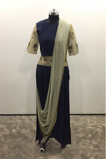 PS-ST1380-1 Navy Crepe Choli with Mint Net Sleeve and Navy Low Crotch Pant with Attached Mint Mukaish Georgette Drape