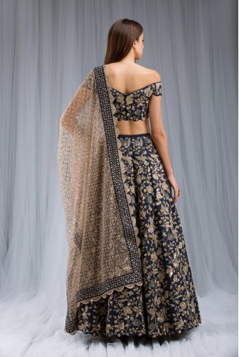 PS-ST0982 Navy Dupion Silk Off Shoulder Choli and Lehenga with Blush Net  Dupatta