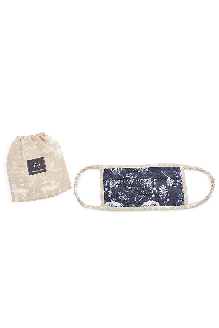 PS-MS0030  PS Men Navy Jannat and Beige Khargosh Print Pleated 3 ply Mask with Pouch for Men