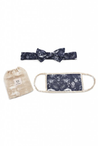 PS-HM0016  Navy Jannat And Beige Khargosh Print Pleated 3 Ply Mask With Pouch And Hairband Set