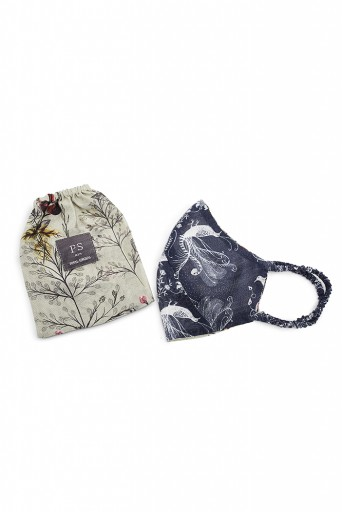 PS-MS0034  PS Men Navy Jannat and Olive Wild Print Reversible 3 Ply Mask with Pouch for Men