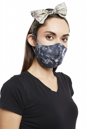 PS-HM0011  Navy Jannat And Olive Wild Print Reversible 3 Ply Mask With Pouch And Hairband Set