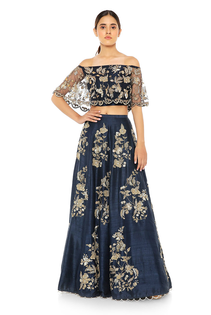 PS-ST0972-H  Navy Net Off Shoulder Ruffle Top with Navy Dupion Silk Lehenga