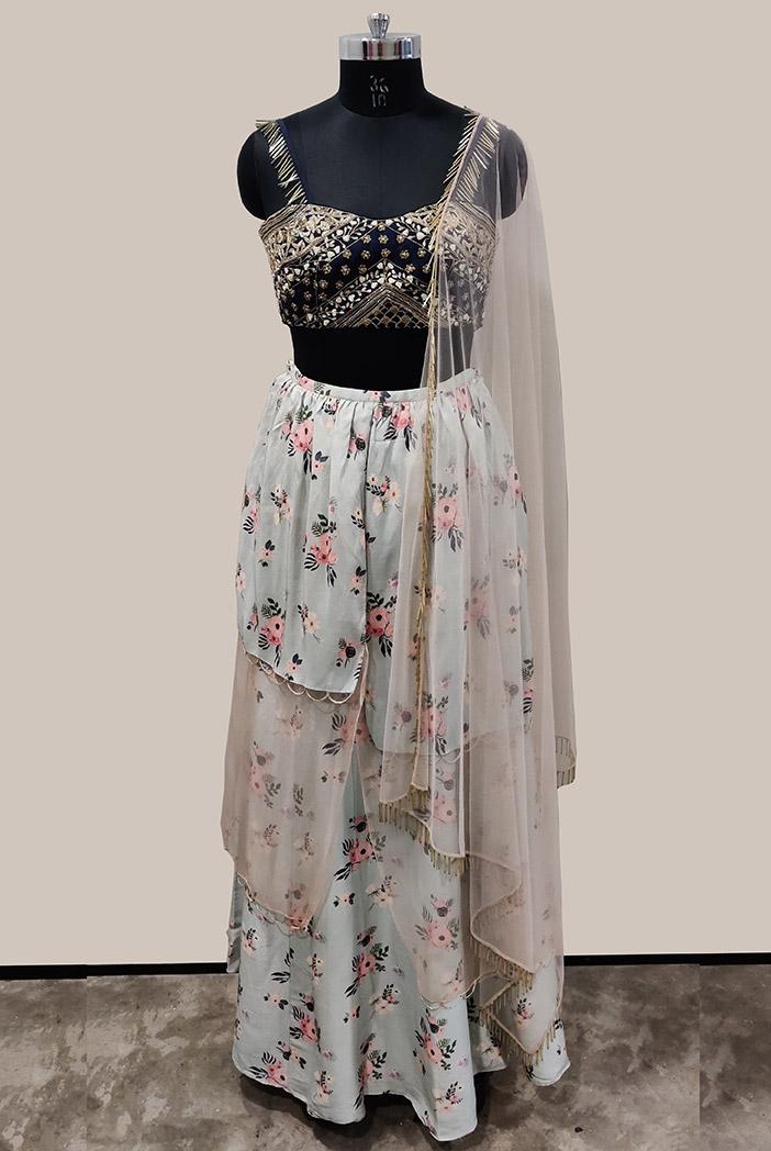 PS-ST1205-B-1 Navy Silk Choli with Blue Printed Silk Asymmetrical Skirt and Blush Net Dupatta