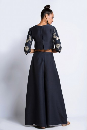 PS-ST0898A Navy Silk Crop Top with Overlap Palzzo