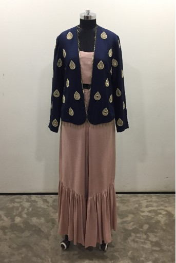 PS-FW519-A-1 Navy Silk Jacket with Rose Pink Silk Bustier and Frill Palazzo