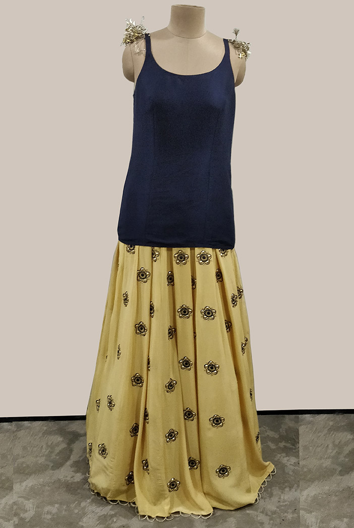 PS-FW515-A-1 Navy Silk Top with Pale Yellow Silk Lehenga