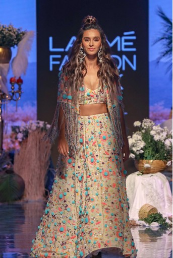 PS-FW675 Naz Stone Georgette Jacket with Choli and Lehenga
