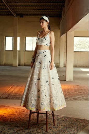 PS-FW730 Nesma Dusky Rose Choli and Lehenga