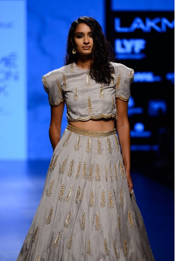 PS-FW396 Nigaar Dove Grey Dupion Silk Boxy Choli with Lehenga