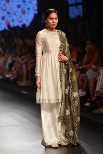 PS-FW380 Nijah Ivory Silkmul Short Anarkali with Palazzo and Moss Green Organza Dupatta