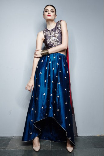PS-FW278 Nina Gunmetal Grey Silkmul Choli with Teal Silkmul Raised Hem Churidar Skirt