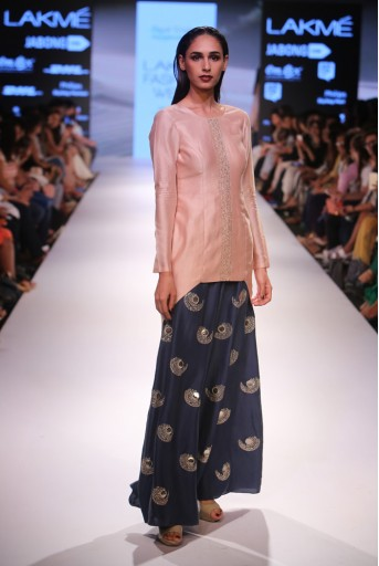 PS-FW363 Nirva Blush Silkmul Kurta with Navy Silk Palazzo