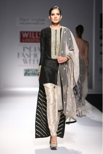 PS-FW295 Nishat Black Dupion Silk High-Low Kurta with Stone Dupion Silk Cigarette Pant and Net Dupatta