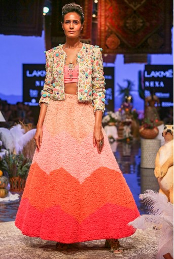 PS-FW672 Noa Chalk White Georgette Jacket with Neon Pink Georgette Bustier and Ombre Lehenga
