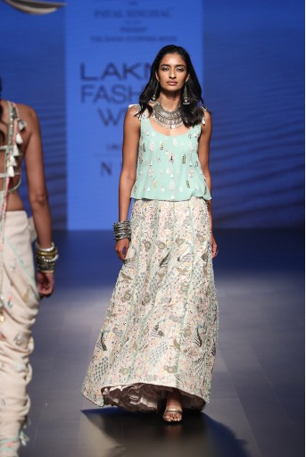 PS-FW508 Nuran Aqua Georgette top with Stone Silk Lehenga