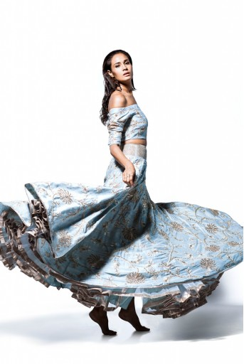 PS-FW393 NurJahan Powder Blue Dupion Silk Off Shoulder Choli with Lehenga and Organza Dupatta