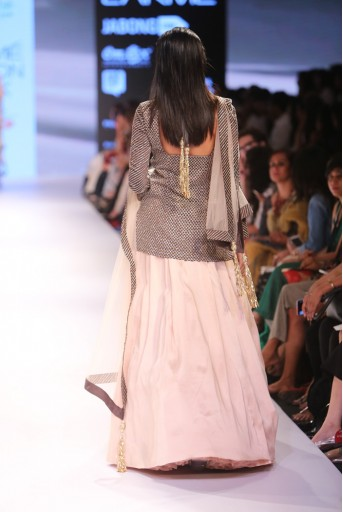 PS-FW359 Nusha Gunmetal Grey Silkmul Kurta with Blush Lehenga and Tulle Dupatta