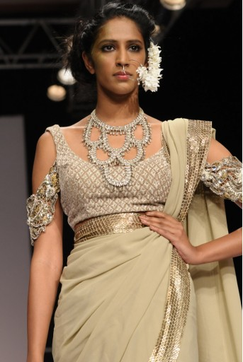 PS-FW132 Nysa Sand Gold Georgette Saree with Velvet Choli and Petticoat