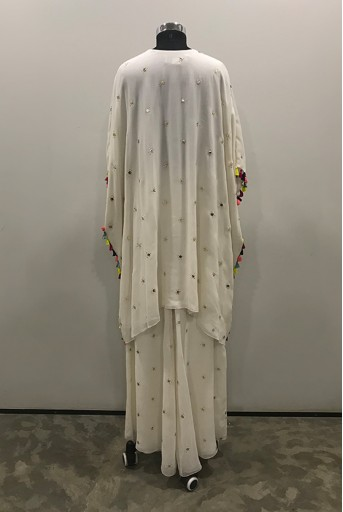 PS-FW716-B-1  Off White Colour Dot Mukaish Georgette Kaftaan with Palazzo Pant