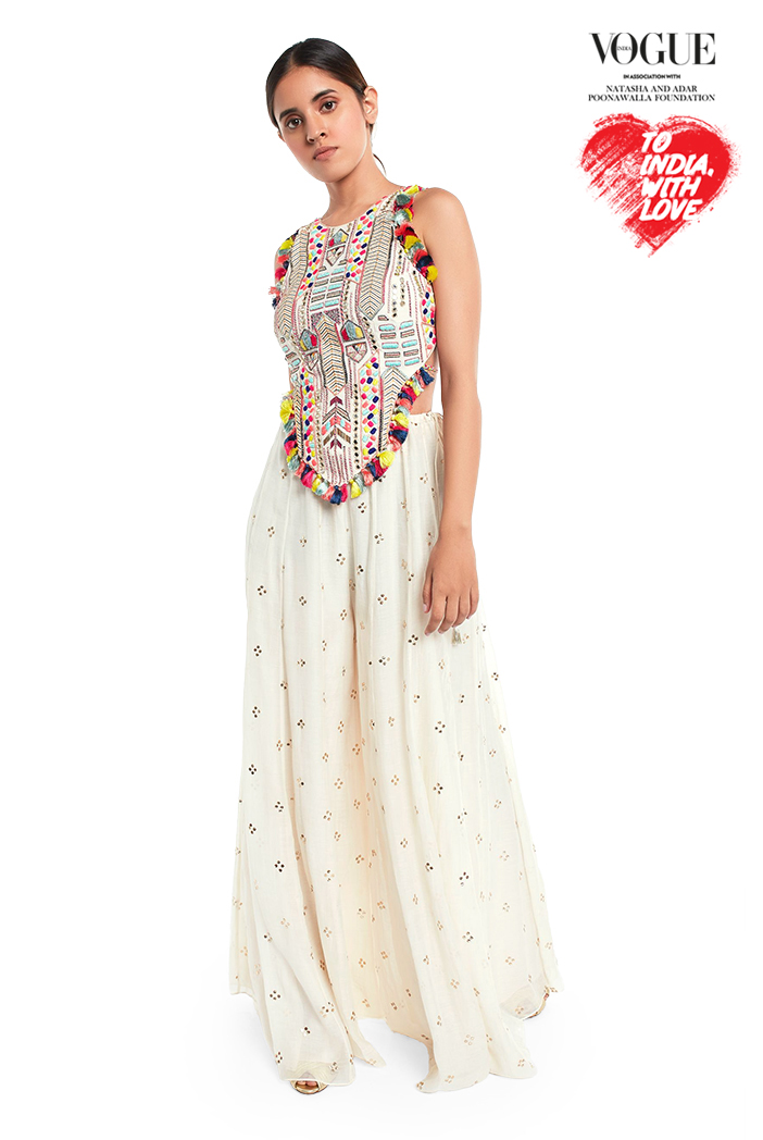 PS-FW719-A  Off White Colour Georgette Tie-Up Choli with Mukaish Silkmul Sharara