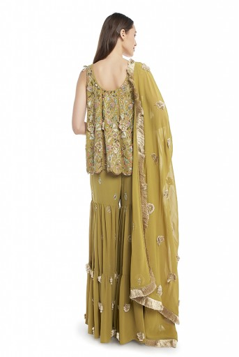 PS-FW568-F-1 Olive Green Colour Georgette Short Anarkali Kurta with Sharara and Dupatta