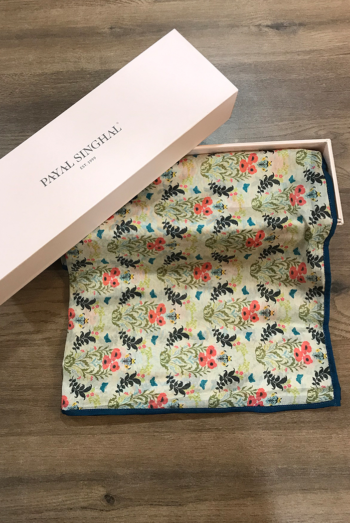PS-TU1375 Olive Poppy Love print silkmul scarf with teal silkmul piping