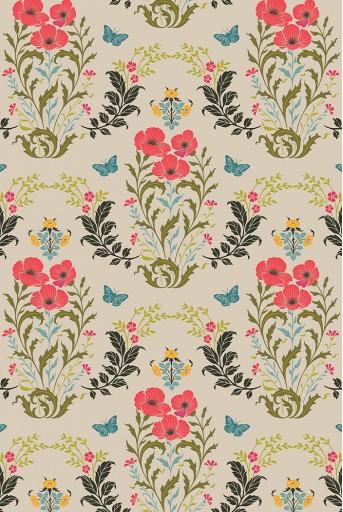PS-TU1375  Olive Poppy Love Print Full Width Scarf