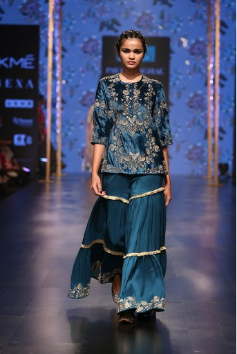 PS-FW556 Ona Ocean Teal Velvet Kurta with Silk Sharara