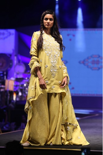 PS-FW591 Ozan Lime Green Silk High-Low Kurta and Mukaish Georgette Palazzo with Organza Dupatta with Tassels