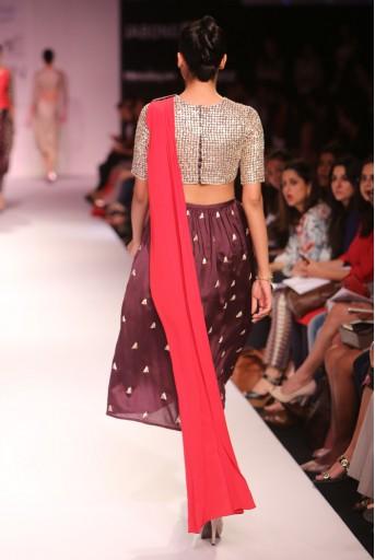 PS-FW280 Padma Gunmetal Grey Silkmul Choli with Cranberry Crepe attached Dupatta and Aubergine Silkmul Churidar Skirt