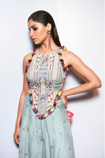 PS-FW719-1  Pale Blue Colour Georgette Choli with Mukaish Silkmul Sharara
