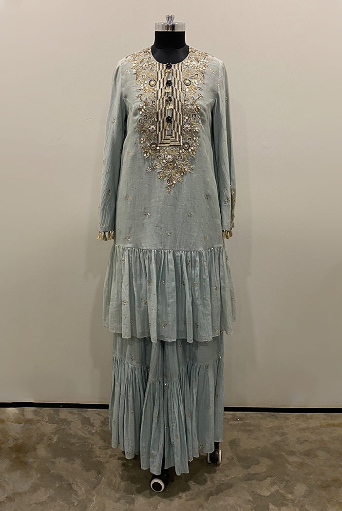 PS-KP0032-1  Pale Blue Colour mukaish silkmul Frill Hem Kurta with Frill Palazzo