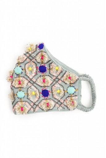 PS-MS0049  Pale Blue Crepe Gota Oggee Embroidered Mask