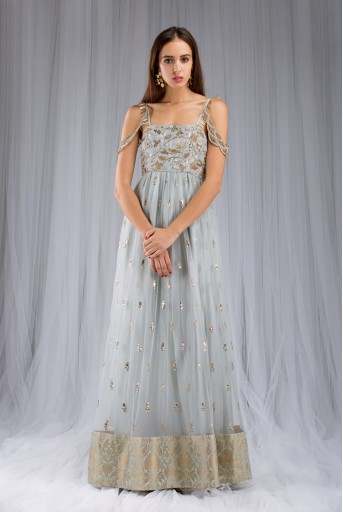 PS-FW124A Pale Blue Silk Embroidered Gown