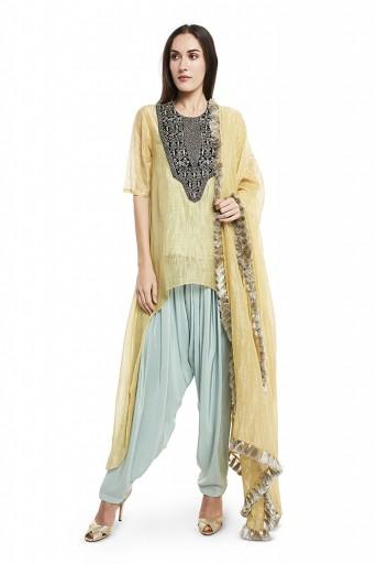 PS-FW575-C-1  Pale Yellow Colour Chanderi Stripe High-Low Kurta with Dupatta and Aqua Colour Silk Camisole with Salwar