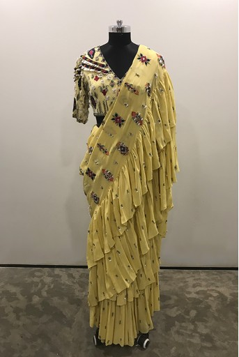 PS-SS0001/1  Pale Yellow Colour Georgette Choli with Frill Saree